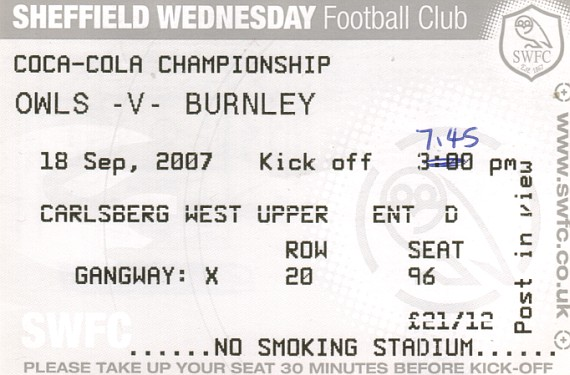 tickets0708 sheffield wednesday