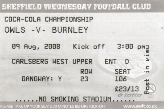 tickets0809 sheffield wednesday