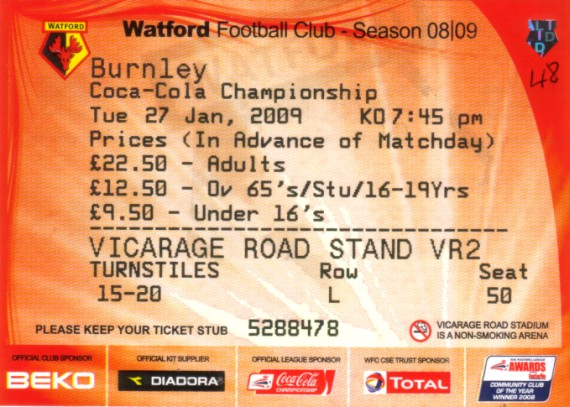 tickets0809 watford