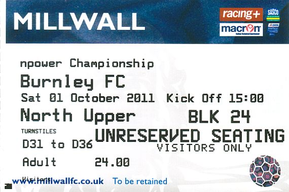 tickets1112 millwall