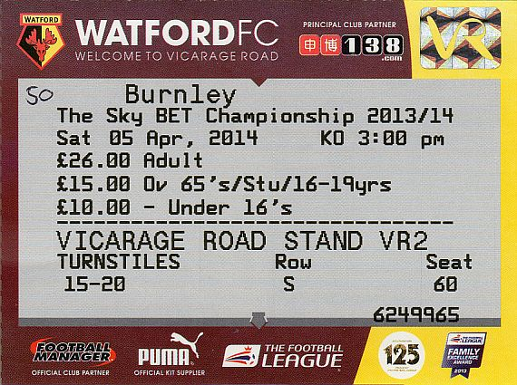 tickets1314 watford