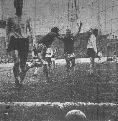 Colin Blant scores Burnley's goal