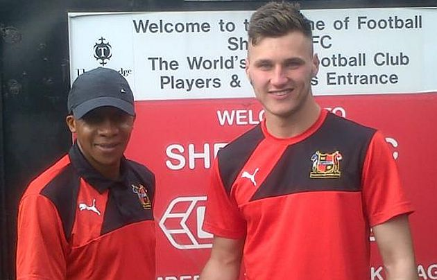 Conor Mitchell with Andy Kiwomya at the start of his first loan at Sheffield
