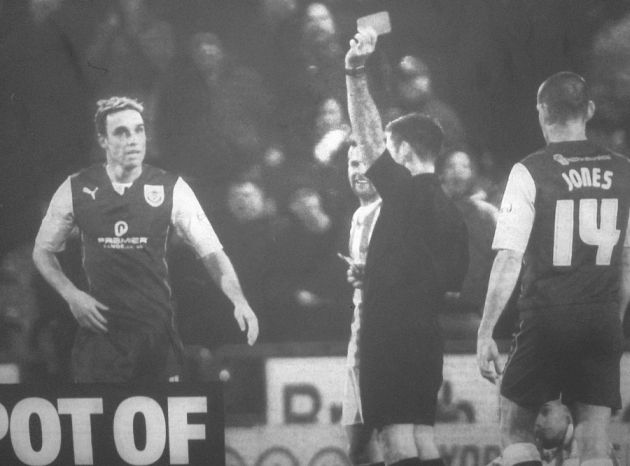 Michael Duff sent off by referee Eddie Ilderton