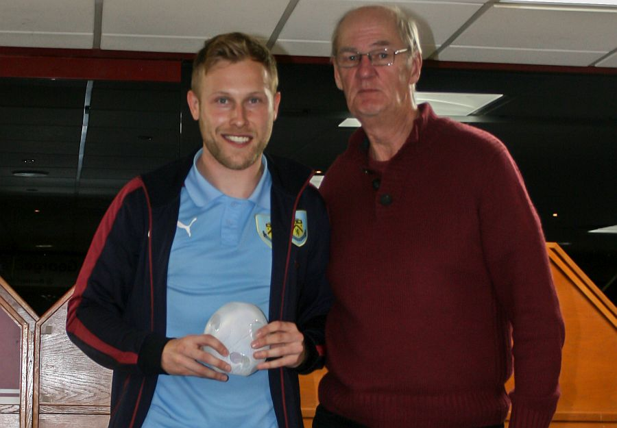 Scott Arfield won the Goal of the Season for his goal at Blackburn, presented by North Manchester Clarets' Geoff Taylor