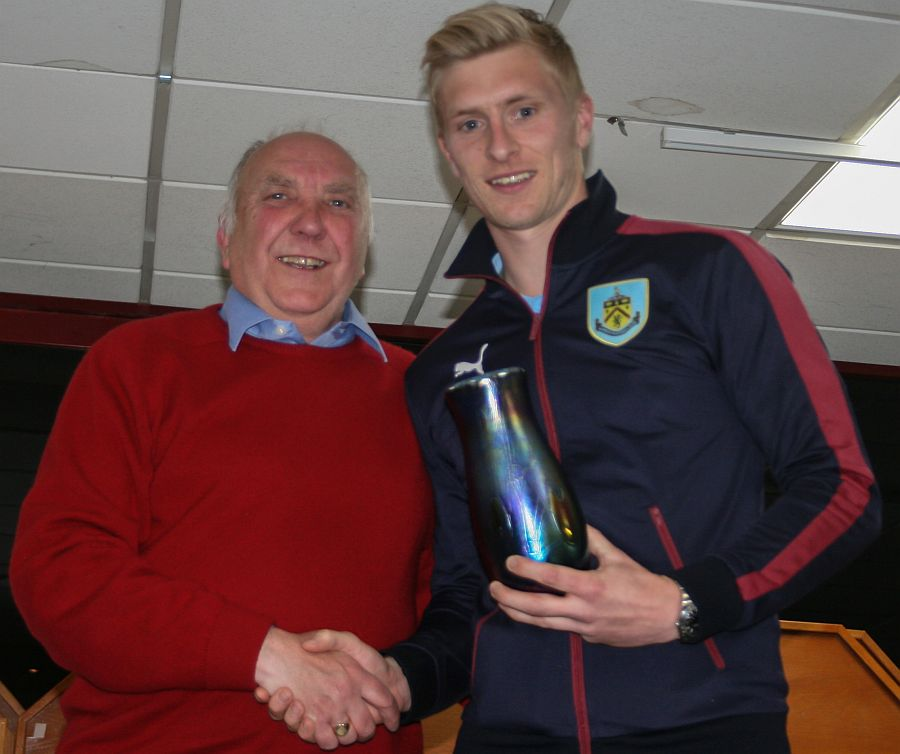 Player of the Year Ben Mee receives his award from Supporters Club chairman Barrie Oliver