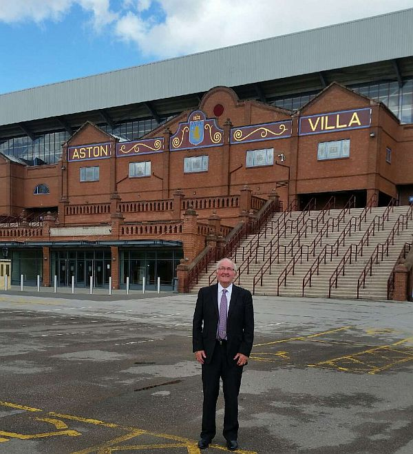 Willie Irvine at the Holte End at Villa where he scored the record breaking goal fifty years ago to the day
