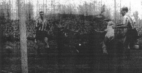 Ray Pointer scores Burnley's goal in the first game