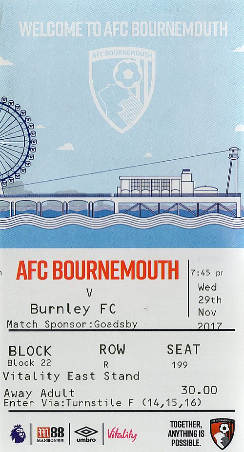 tickets 1718 bournemouth