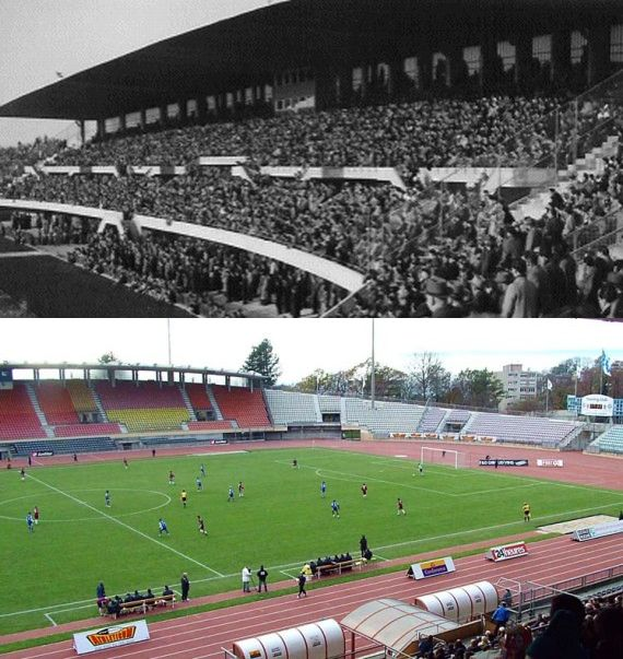 Stade Olympique de la Pontaise in 1966 and more recently