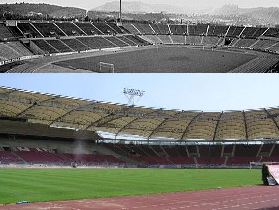 The Necker Stadium then and more recently