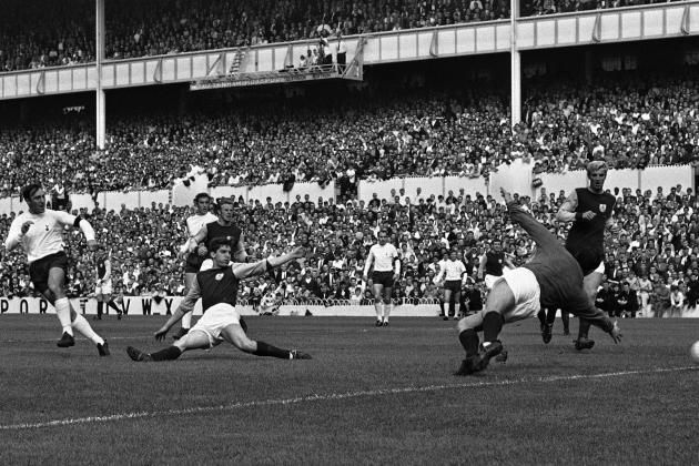 Greaves (far left) scores his third against Burnley in 1968