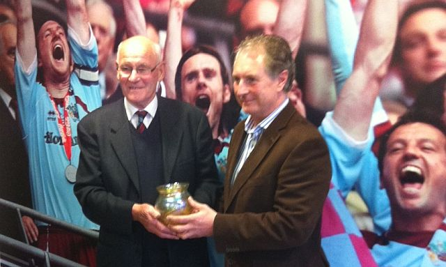 Receiving the Burnley FC Supporters Groups award from Paul Fletcher in 2012